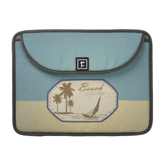 Vintage Retro Beach Palm Tree Boat Blue Sepia Tone Sleeve For MacBooks