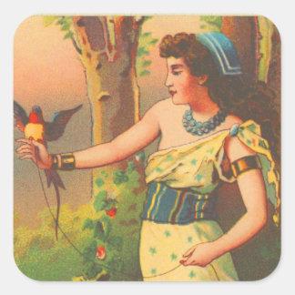 Vintage Retro Beautiful Woman with Bird Trade Card Square Sticker