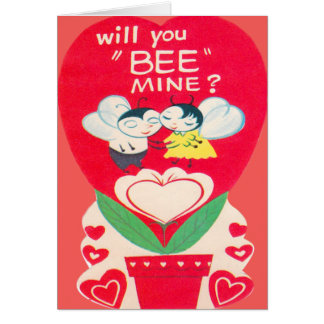 Vintage Retro Bee Couple Valentine Card