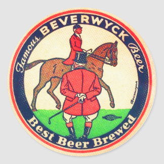 Vintage Retro Beer Beverwyk Coaster Classic Round Sticker