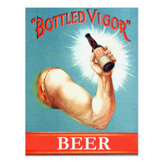 Vintage  Retro Beer Bier Bottled Vigor Ad Postcard