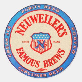Vintage Retro Beer Nueweiler's Brews Coaster Classic Round Sticker