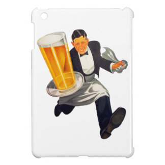 Vintage Retro Beer Waiter Serving Glass of Beer iPad Mini Cover