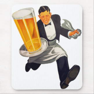 Vintage Retro Beer Waiter Serving Glass of Beer Mouse Pad