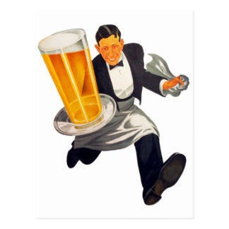 Vintage Retro Beer Waiter Serving Glass of Beer Postcard
