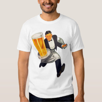 Vintage Retro Beer Waiter Serving Glass of Beer Shirt