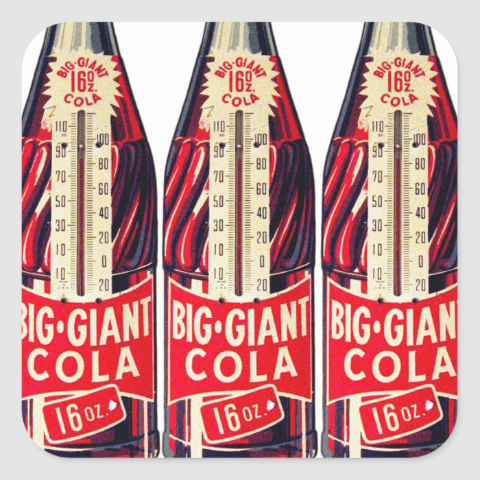 Vintage Retro Big Giant Soda Bottle Thermometer Square Sticker