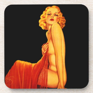Vintage Retro Billy DeVorss Glamor Pinup girl Drink Coasters
