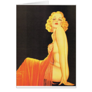 Vintage Retro Billy DeVorss Pinup Girl Greeting Card