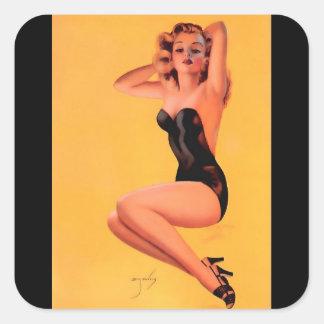 Vintage Retro Billy DeVorss Pinup Girl Square Sticker