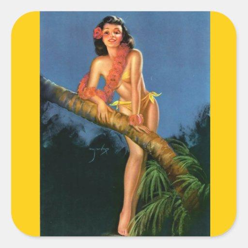 Vintage Retro Billy DeVorss Pinup Girl Stickers