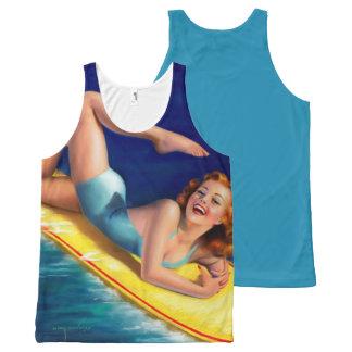 Vintage Retro Billy DeVorss Surf Surfer Pinup girl All-Over-Print Tank Top
