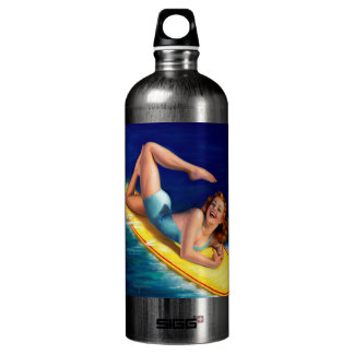 Vintage Retro Billy DeVorss Surfer Pinup girl SIGG Traveler 1.0L Water Bottle