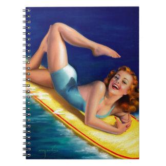 Vintage Retro Billy DeVorss Surfer Pinup girl Spiral Notebook