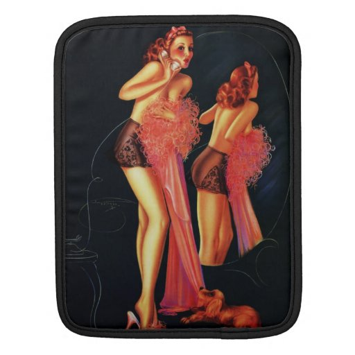 Vintage Retro Billy DeVorss Telephone Pinup girl Sleeves For iPads