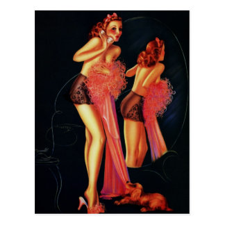 Vintage Retro Billy DeVorss Telephone Pinup girl Postcard