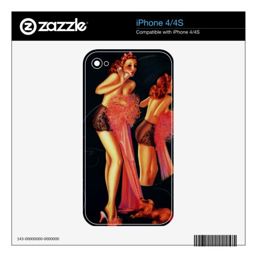 Vintage Retro Billy DeVorss Telephone Pinup girl Skins For The iPhone 4