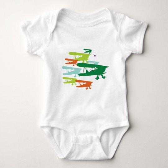 Vintage Retro BiPlane Lonely Sparrow Airplane Desi Baby Bodysuit