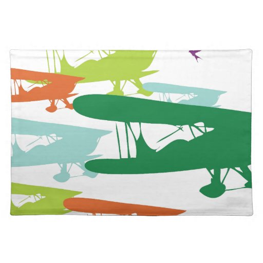 Vintage Retro BiPlane Lonely Sparrow Airplane Desi Cloth Place Mat