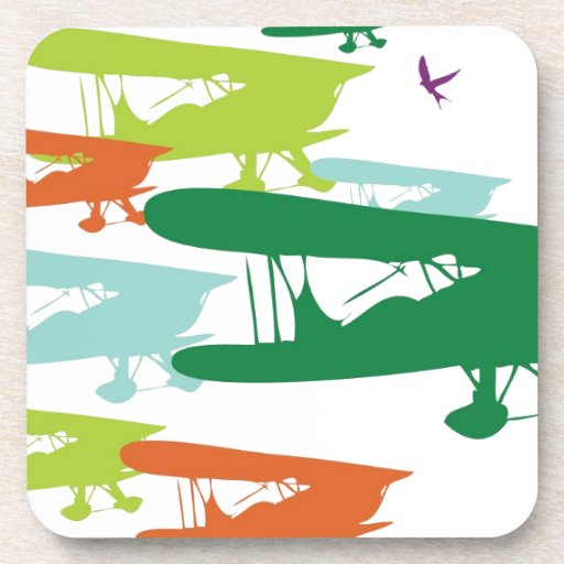 Vintage Retro BiPlane Lonely Sparrow Airplane Desi Beverage Coasters