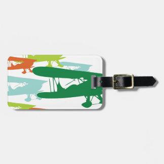 Vintage Retro BiPlane Lonely Sparrow Airplane Desi Luggage Tag
