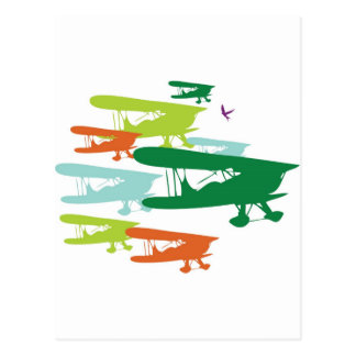 Vintage Retro BiPlane Lonely Sparrow Airplane Desi Post Card
