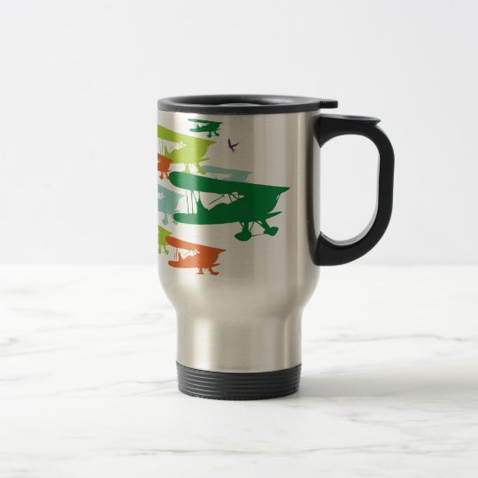 Vintage Retro BiPlane Lonely Sparrow Airplane Desi Travel Mug