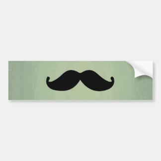 Vintage Retro Black Mustache On Shabby Mint Green Bumper Stickers