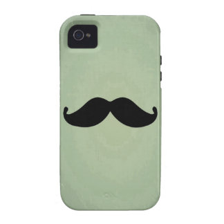 Vintage Retro Black Mustache On Shabby Mint Green iPhone 4 Cover