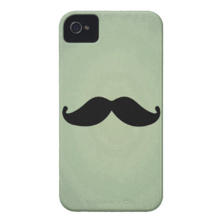 Vintage Retro Black Mustache On Shabby Mint Green iPhone 4 Covers