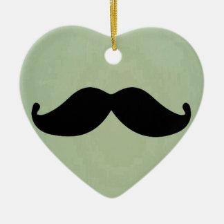 Vintage Retro Black Mustache On Shabby Mint Green Ceramic Ornament
