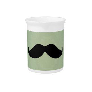 Vintage Retro Black Mustache On Shabby Mint Green Pitchers