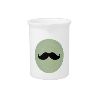 Vintage Retro Black Mustache On Shabby Mint Green Drink Pitcher