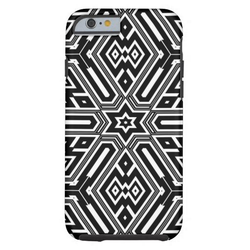 Vintage Retro Black & White Geometric Pattern Tough iPhone 6 Case