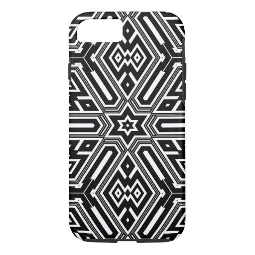 Vintage Retro Black & White Geometric Pattern iPhone 8/7 Case