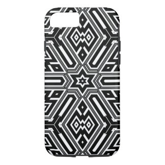 Vintage Retro Black & White Geometric Pattern iPhone 8/7 Case