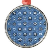 Vintage Retro Blue Floral Pattern Metal Ornament