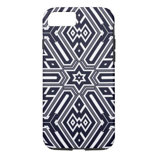 Vintage Retro Blue & White Geometric Pattern iPhone 8/7 Case