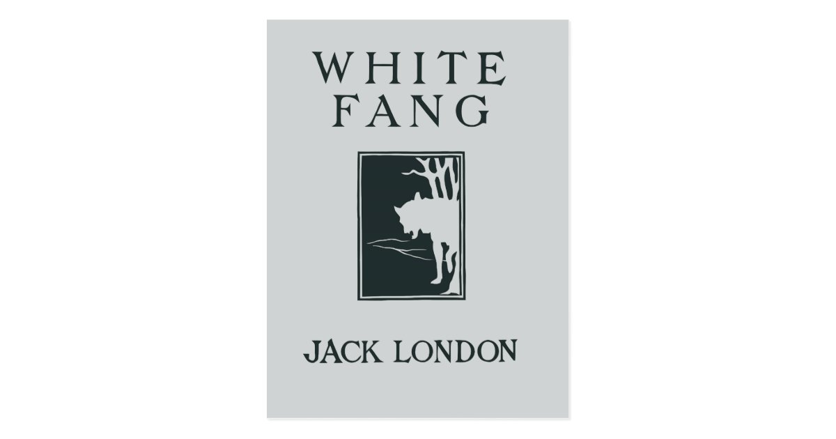 White Fang Book Cover : Vintage retro book cover white fang jack london postcard