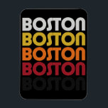 "Vintage Retro Boston Premium Flexi Magnet<br><div class=""desc"">A cool retro style fridge magnet,  featuring the word BOSTON,  stacked in white,  yellow,  orange,  red,  and black  Grab yours,  and show off your love for Boston,  Mass!</div>"