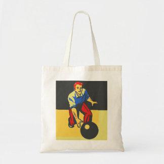 Vintage Retro Bowling Bowler Man Tote Bag