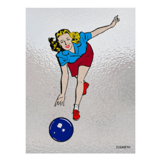 Vintage Retro Bowling Playing Girl Old Comics Poster