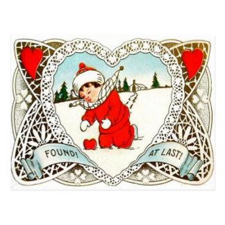 Vintage Retro Boy Finds Heart In Snow Valentine Postcard