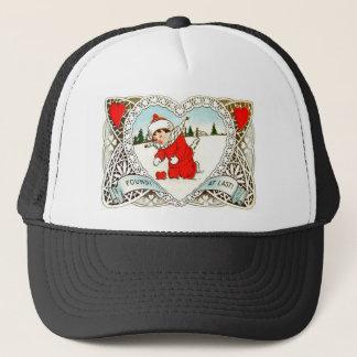Vintage Retro Boy Finds Heart In Snow Valentine Trucker Hat