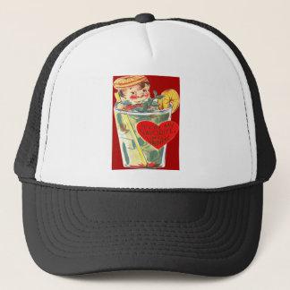 Vintage Retro Boy In Cocktail Valentine Card Trucker Hat