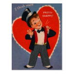 Vintage Retro Boy In Suit Valentine Card