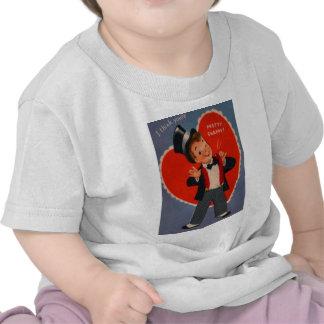 Vintage Retro Boy In Suit Valentine Card Tee Shirt
