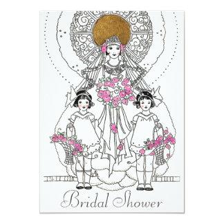 Vintage Retro Bride & Flower Girls Bridal Shower Card