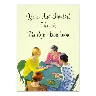 """Vintage Retro Bridge Luncheon Party Invitations 4.5"""" X 6.25"""" Invitation Card"""