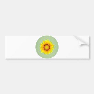 Vintage Retro Bright Yellow Sunflower / Mint Green Bumper Stickers